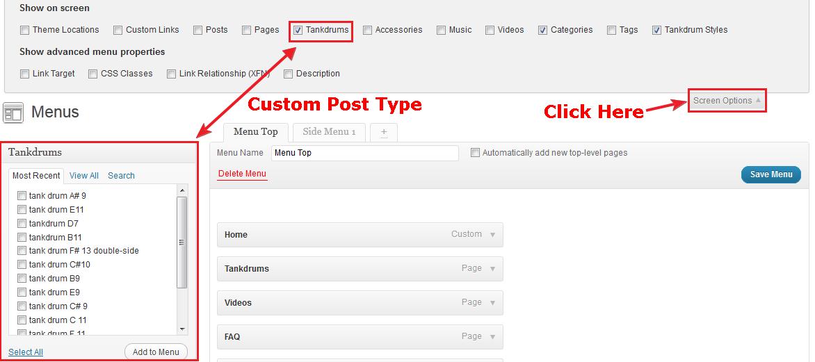 Add Custom Post Type To Menu